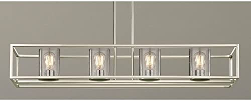 Seeded Hanging Glass Linear Chandelier Satin Nickel Finish