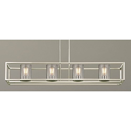 - Seeded Hanging Glass Linear Chandelier Satin Nickel Finish - 4 Lights