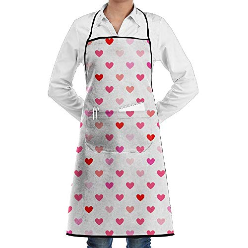 gnietog Heart Background Fashion Waterproof Durable Apron with Pockets for Women Men Chef