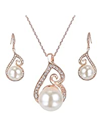 EleQueen Women's Simulated Pearl Floral Pendant Bridal Necklace Hook Earrings Set Clear