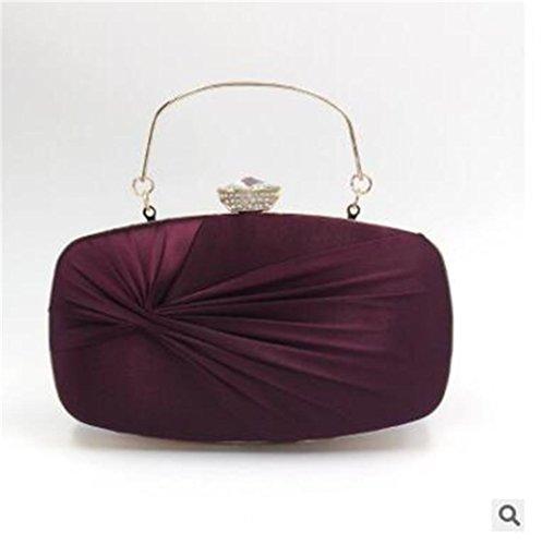 Bolsos NVBAO de Mujeres de Vestido Bowknot Handbag Las Faux Fiesta Boda de Purple Rectangular purple Silk Embrague Noche Acanalada d8w8qr