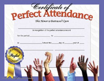 14 Pack HAYES SCHOOL PUBLISHING CERTIFICATES PERFECT ATTENDANCE 30