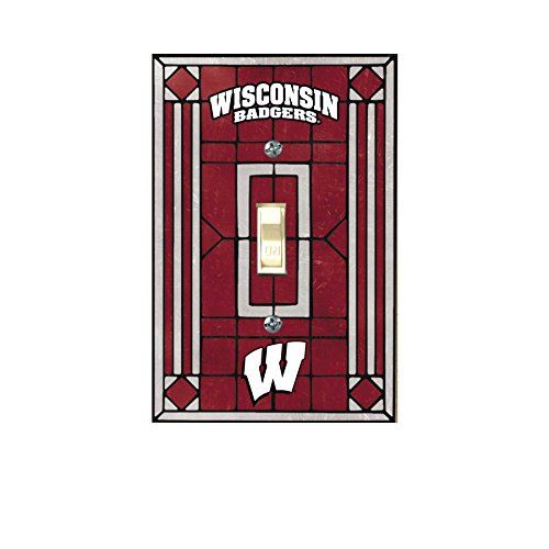 Wisconsin Badgers Art Glass Switch Cover