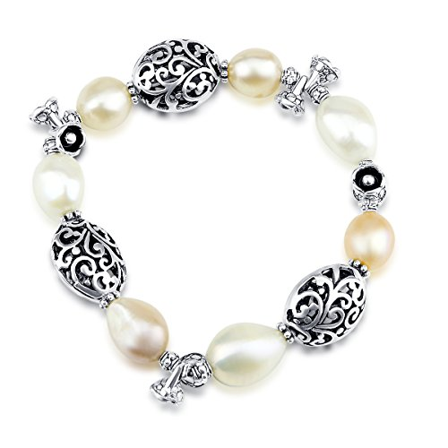Freshwater Cultured Pearl Stretch Bracelet with Bali Beads ()