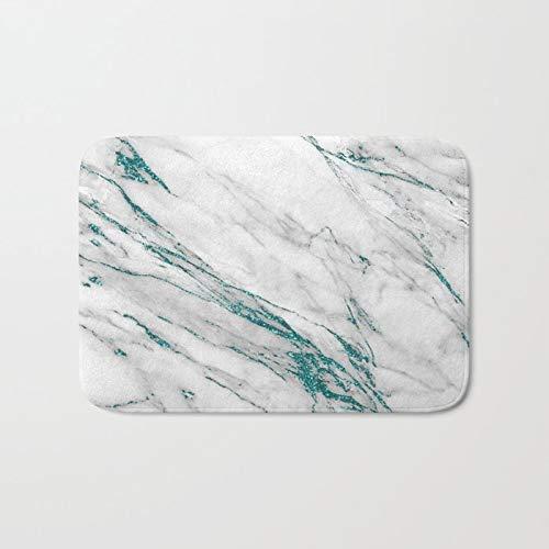 (Grey Marble Aqua Teal Metallic Glitter Foil Style Doormat Bath Rug Outdoor/Indoor Door Mat Bathroom Decor Rug 20