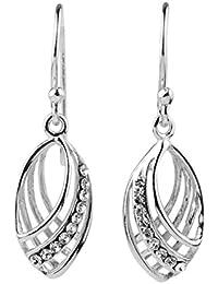 Sterling Silver Crystal Elegant Art Deco Style Drop Dangle Earrings