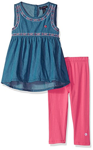 Limited Too Girls' Toddler Fashion Top and Legging Set, Embro Trim Pink Capri Multi Print, 3T ()