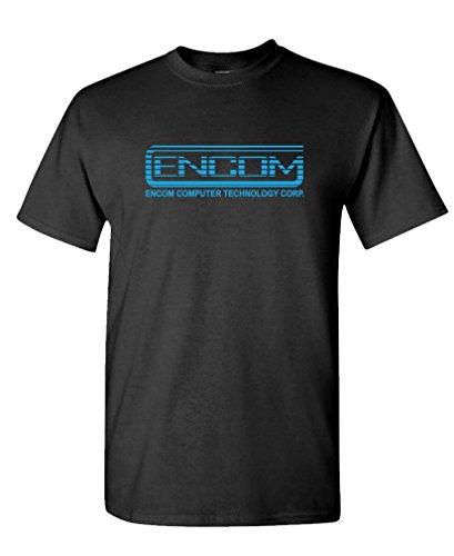 ENCOM - retro 80's movie evil empire - Mens Cotton T-Shirt, XL, Black ()