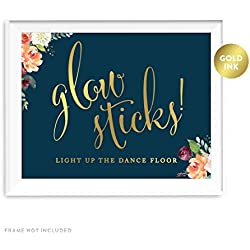 Andaz Press Wedding Party Signs, Navy Blue Burgundy Florals with Metallic Gold Ink, 8.5x11-inch, Glow Sticks Light Up the Dance Floor, 1-Pack, Colored Fall Autumn Decorations