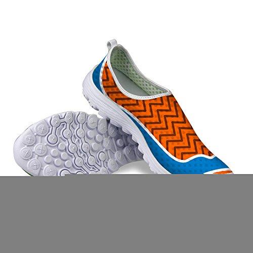 FOR U DESIGNS Stylish Sexy Lip Print Womens Slip on Mesh Running Shoes Brown q4i0m0W6lH