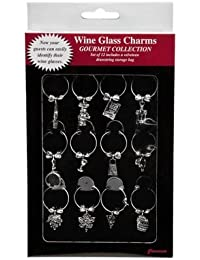 Get 12 Wine Glass Charms the Gourmet Collection with Velveteen Storage Bag dispense