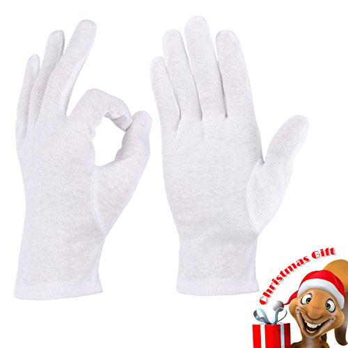 Christmas Gift, Moisturizing Gloves Cotton Cosmetic Gloves For Dry Hands and Cotton Beauty Gloves, 5 Pairs (White)