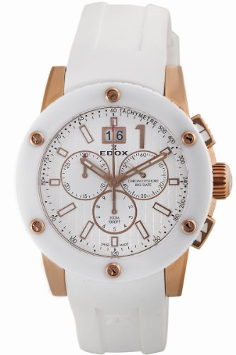 Edox Men's 10012 37RB BIR Class-1 White Rotating Bezel Watch