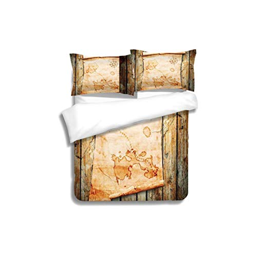 VROSELV-HOME Kids Quilt 3 Piece Bedding Set,Island Map Treasure Map on Rustic Timber X Marks The Spot of Gold Nautical Pirates Concept Cream with Sham and Decorative 2 Pillows,Full -