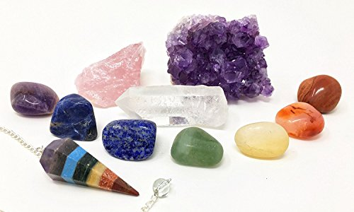 11 pcs Chakra Crystal Healing Kit/Lot of 7 Chakra tumbles, Chakra Pendulum, Amethyst Cluster, Raw Rose Quartz, and Crystal Point/Bohemian Meditation Set by HappyAura