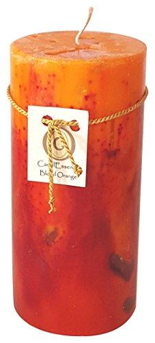Handmade Scented Candle - Long Burning Pillar - Blood Orange Scent (Medium)