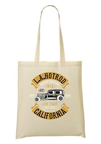 LA Hotrod California Live Fast 1974 Bolso De Mano Bolsa De La Compra
