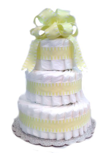 Classic Pastel Baby Shower Diaper Cake (3 Tier, Yellow) by Rubber Ducky