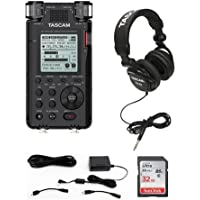Tascam DR-100MKIII Stereo Linear Portable PCM Recorder - Bundle with Tascam PS-P520E AC Adapter for Recorders, Tascam TH-02 Multi-Use Studio Grade Headphones, 32GB SDHC Card