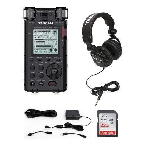 Tascam DR-100MKIII Stereo Linear Portable PCM Recorder - Bundle PS-P520E AC Adapter for Recorders, TH-02 Multi-Use Studio Grade Headphones, 32GB SDHC Card