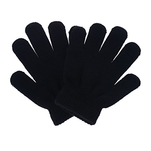 [Pinksee Kids Boys Girls Winter Warm Stretchy Knitted Magic Gloves Black] (Black Girls Gloves)