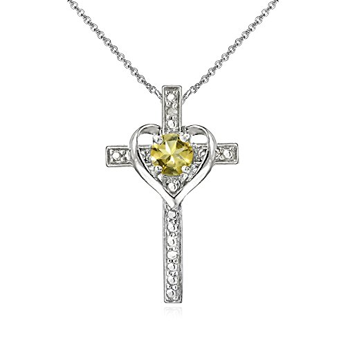 Sterling Silver Citrine Cross Heart Pendant Necklace for Girls, Teens or Women