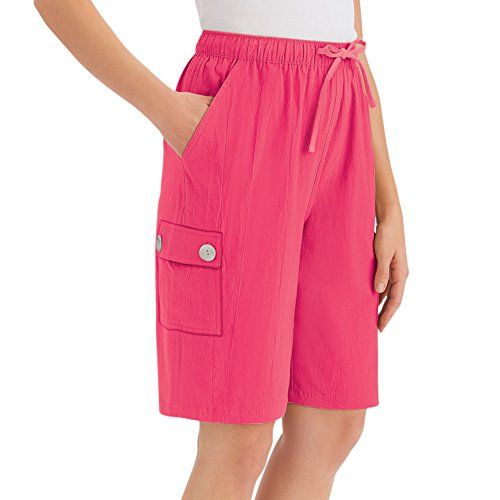 Misses Casual Pants - Women's Crinkle Cotton Gauze Clothing Cargo Elastic Waist Bermuda Short, Coral, Medium