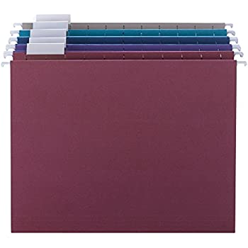 Smead Hanging File Folder with Tab, 1/5-Cut Adjustable Tab, Letter Size, Assorted Jewel Tone Colors, 25 per Box (64056)