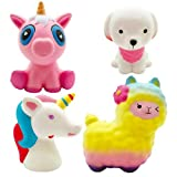 Viccent Jumbo Squishies Horse, Rainbow Sheep, Cute Dog, Pink Unicorn Set Slow Rising Cream Scented Squeeze Animal Toys for Kids Stress Relief,Decorative Props Large (4 Pack)