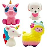 Viccent Jumbo Squishies Horse, Rainbow Sheep, Cute Dog, Pink Unicorn Set Slow Rising Cream Scented Squishy Animal Toys for Kids Stress Relief,Decorative Props Large (4 Pack)
