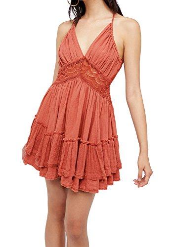 R.Vivimos Women's Summer Ruffles V Neck Backless Beach Short Dresses Small Pink