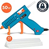 Hot Glue Gun 50W Tilswall Mini Melt Gun Pistola Heats Up Quickly with 12pcs 130mm Glue Sticks Kit, 3 Patents Design, ON-Off Switch for Art, Kids Craft, Sealing, DIY, Home Repairs, Card, Wood, Glass