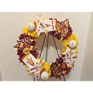 COLLEGE PRIDE - ASU - ARIZONA STATE UNIVERSITY - SUN DEVILS - DORM DECOR - DORM ROOM - COLLECTOR WREATH - GOLDEN YELLOW CARNATIONS AND RED ZINNIAS 98