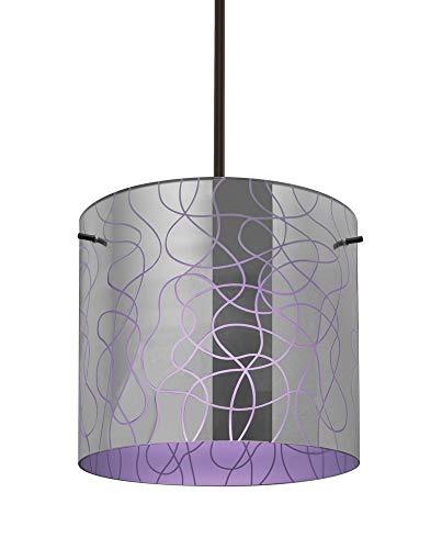 Besa Lighting 1TT-LITH12PL-BR Lithium 12 - One Light Stem Pendant, Bronze Finish with Lithium Purple Glass ()