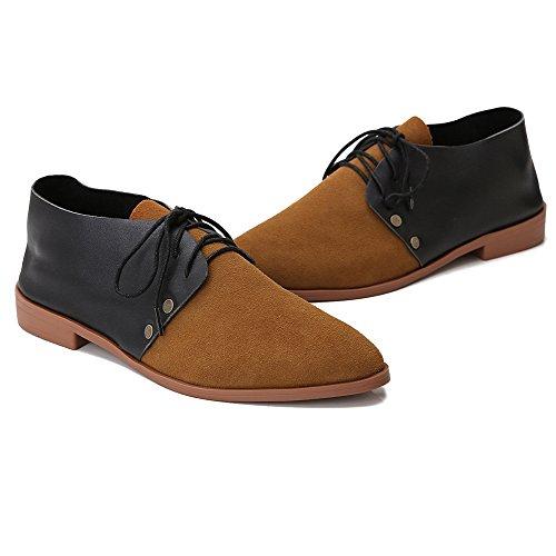 Leeminus - Zapatos de cordones de Ante para mujer negro, marrón