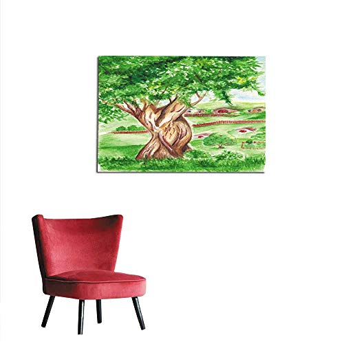 homehot Corridor/Indoor/Living Room Watercolor Big Green Tree in