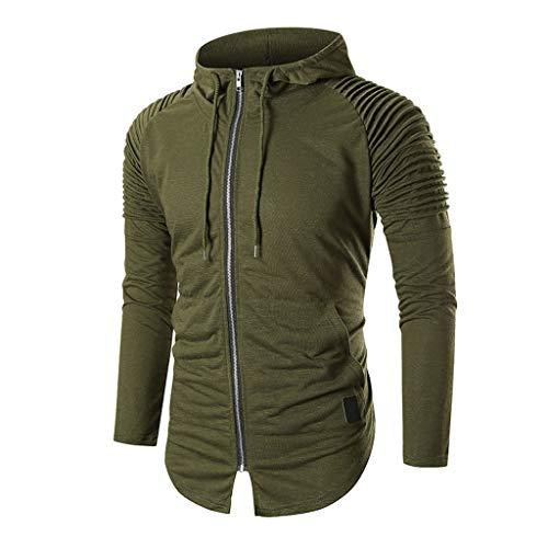Sunhusing Men Autumn Winter Draping Pleated Striped Long-Sleeve Casual Pocket Drawstring Hooded Sweatshirt Coat ()