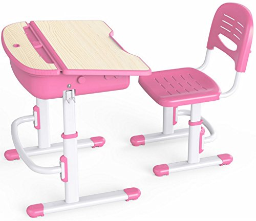 leomark ergonomisch kinderschreibtisch smart schreibtisch und stuhl h henverstellbar farbe pink. Black Bedroom Furniture Sets. Home Design Ideas