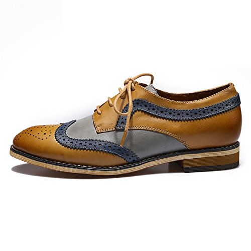 Mona Flying Womens Leather Perforated Lace-up Oxfords Shoes For Women Wingtip Multicolor Brougue Shoes Brown-grey H3gyRqfI
