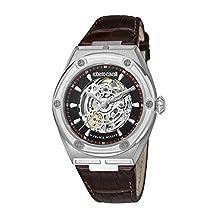 ROBERTO CAVALLI RC-65 Reloj suizo automático de acero inoxidable con correa de piel de becerro, café, 22 (Modelo: RV1G060L0026)