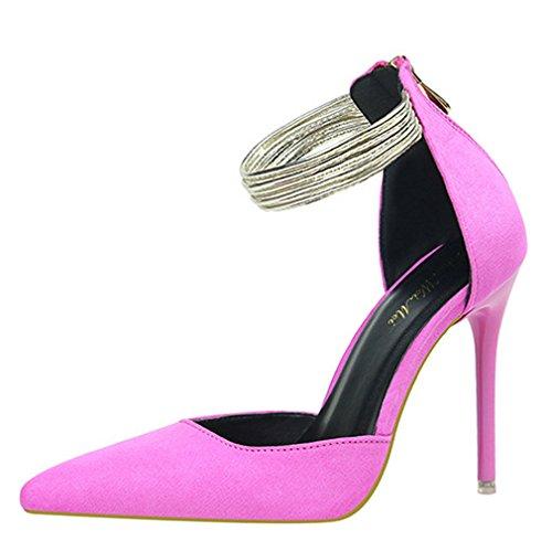 EU Femme 38 Escarpins Hauts Xianshu Sandales Rose Anneau Bout éclair Chaussures pour Aiguille Cheville Fermeture Pompes Pointu Talons qxRTwP