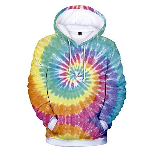 Men's Hoodies Unisex 3D Printing Creative Tie Dye Vortex Round Neck Casual Long Shirts Top - Golf Ls Shirt