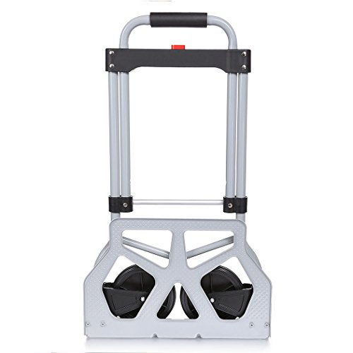 PEATAO Aluminum Folding Hand Truck with 2 Rubber Wheels, Heavy Duty Handle Utility Cart for Luggage, Travel [US Stock] (220LB) by PEATAO (Image #3)