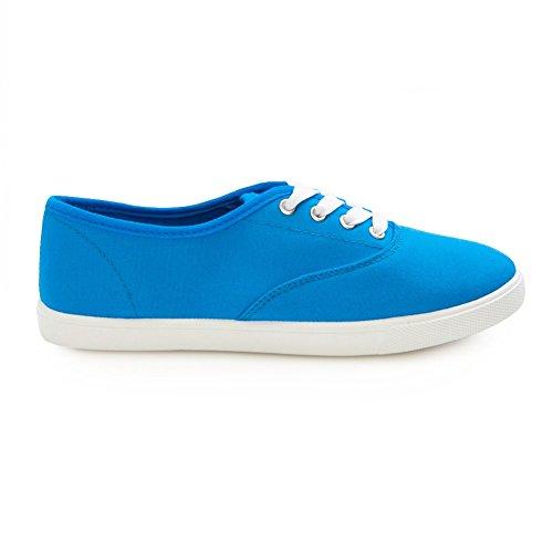 H2k Sports Mujeres [lightweight] Zapatillas De Deporte Con Cordones Cómodos Con Cordones Zapatos Casuales Azul Y Blanco