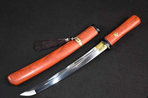 - Yongli Sword Handmade Short Katana Japanese wakizashi Tanto Samurai Sword Sharp Blade Carbon Steel Folded Steel (Double Groove Ⅱ)
