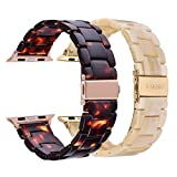 V-MORO Resin Band Sets Compatible with Apple Watch Band 42mm 44mm Series 4/3/2/1 with Stainless Steel Buckle Copper Replacement Wristband Strap Women Men(Tortoise+Light Cream, 42mm 44mm)