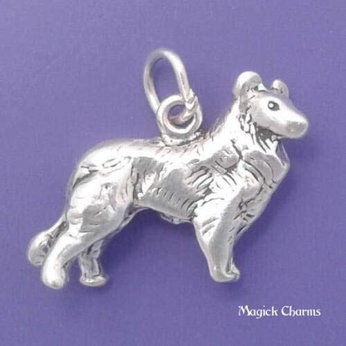 (Sterling Silver 3-D Collie Sheltie Dog Charm DIY Jewelry Making Supply for Charm Pendant Bracelet by Charm)