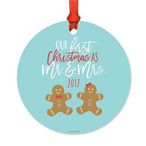 Gingerbread Ideas For Christmas - Andaz Press Wedding Metal Christmas Ornament, Our First Christmas As Mr. and Mrs. 2017, Gingerbread Man and Woman, 1-Pack, Includes Ribbon and Gift Bag