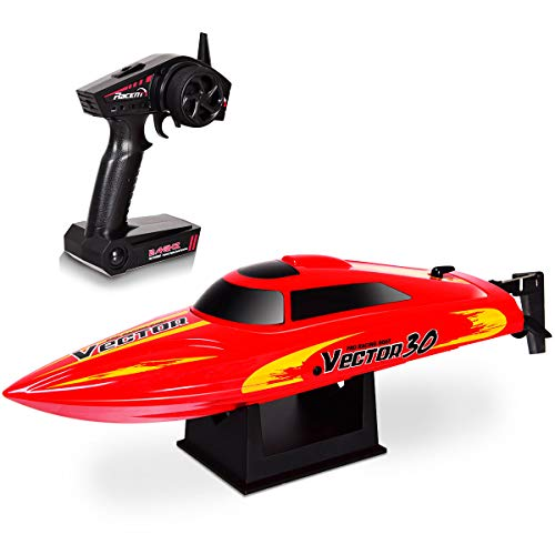 Costzon Vector30 2.4G RC High Speed Racing Boat, Self-righting Auto Roll Back, Reverse Function, Brushed Motor, RTR (Red)