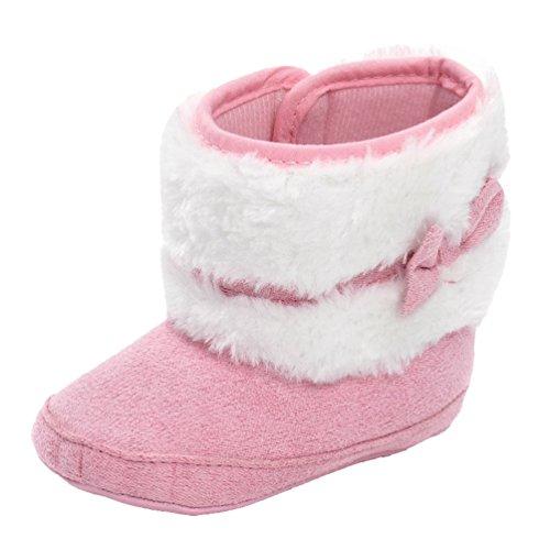 CHENGYANG Babyschuhe Mädchen Neugeborene Weiche Rutschfest Stiefel Warm Schneestiefel Winterstiefel Pink#15
